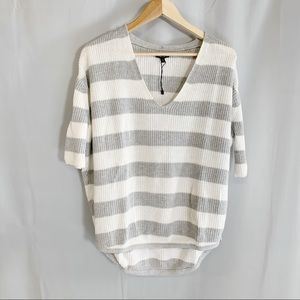 Express striped dolman short sleeves sweater top S